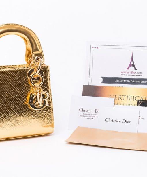 Sac Mini Lady Dior en cuir Python