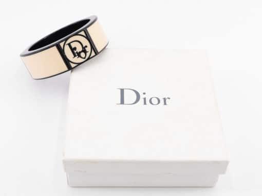 Bracelet manchette Dior authentique d'occasion en bois laqué style vintage
