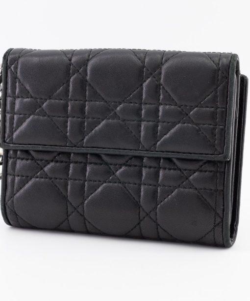 Mini portefeuille Lady Dior en cuir d'agneau Cannage couleur noir