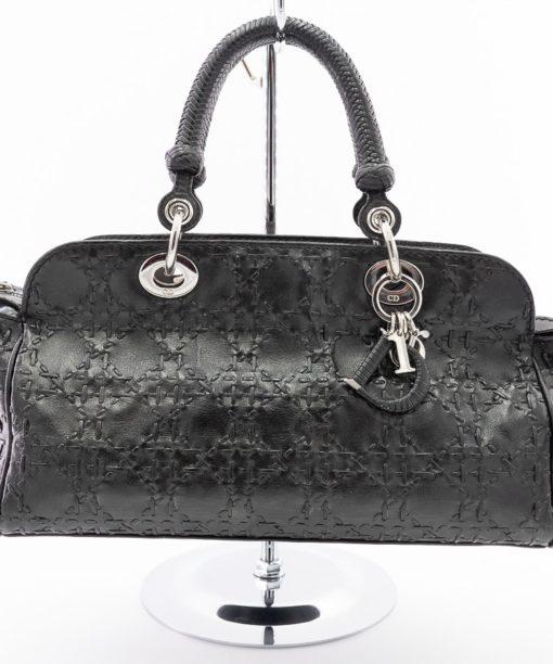 Sac à main Dior d'occasion authentique en cuir tressé noir