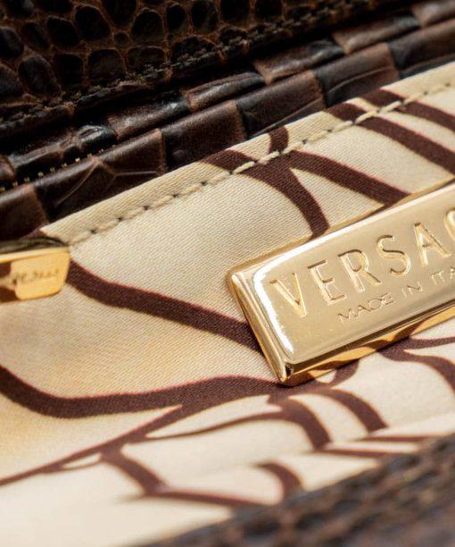 Versace Sac à main en Daim et cuir Croco couleur marron