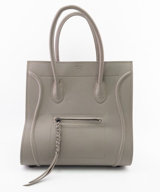 Sac à main Celine Luggage Phantom authentique d'occasion en cuir de veau couleur taupe