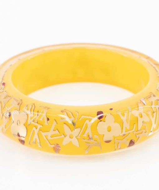 Bracelet Jonc Louis Vuitton Monogram Inclusion authentique d'occasion en résine jaune