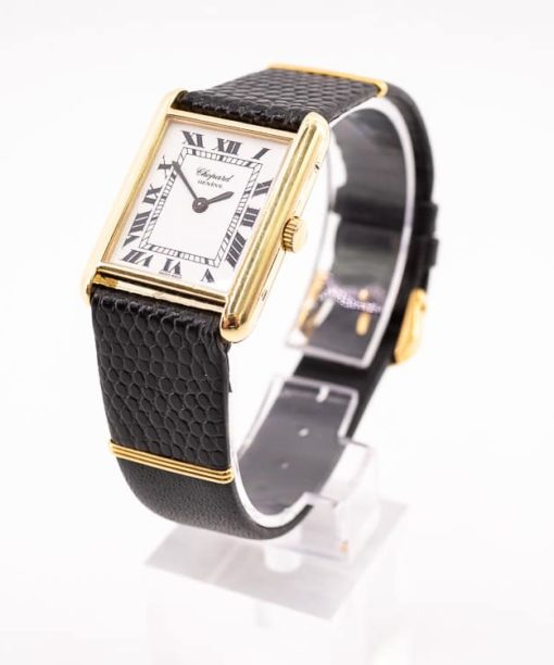 Montre Chopard Tank en or jaune 18k vintage authentique d'occasion