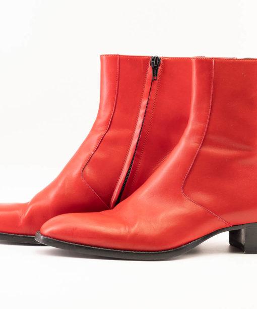Bottes Saint Laurent COLE boots zippées en cuir lisse rouge