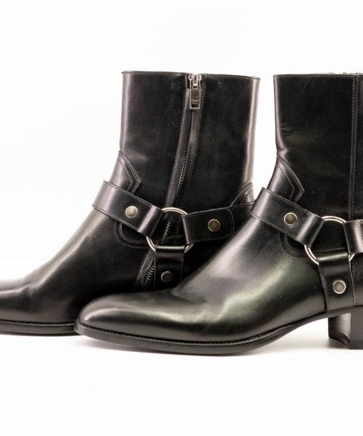 Bottes Saint Laurent homme WYATT en cuir lisse noir