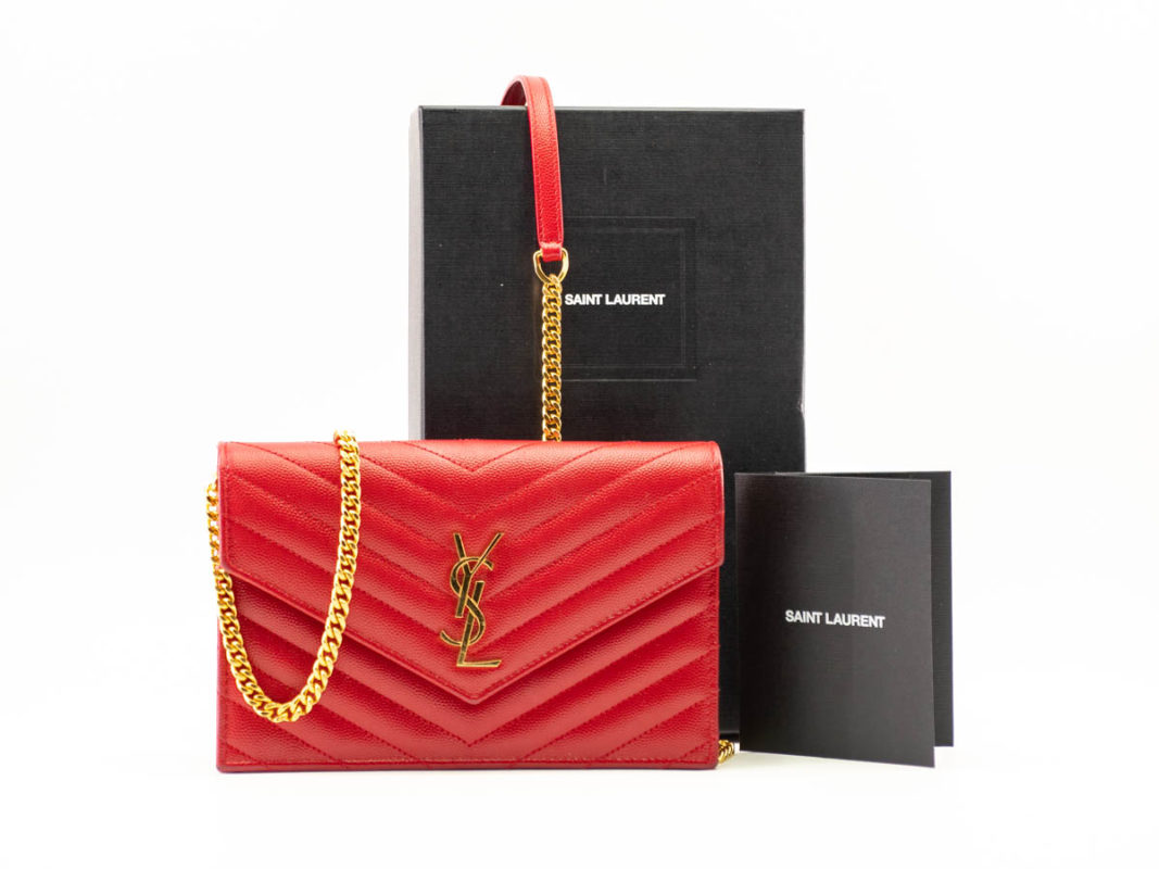 Pochette YSL Envelope Chain Wallet Red