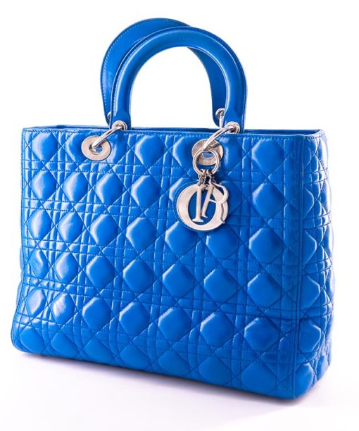 Sac Lady Dior Large en cuir cannage bleu royal