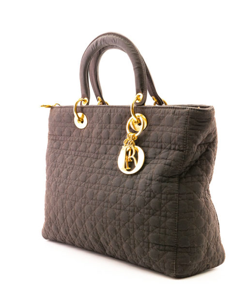 Sac Dior Lady Dior GM toile cannage marron