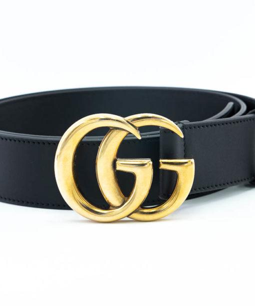 Ceinture Gucci Boucle Double G en cuir noir