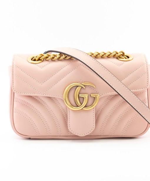 Sac Gucci GG Marmont Mini cuir rose pastel