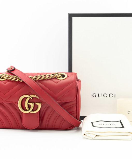 Sac Gucci GG Marmont Mini cuir rouge