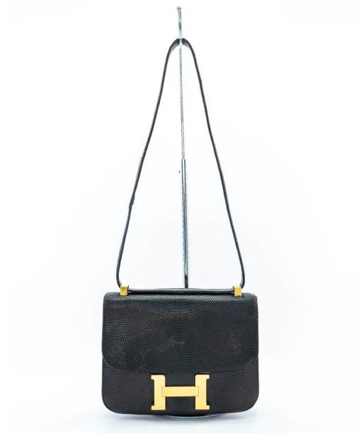 Sac Hermès Constance vintage en lézard noir années '70