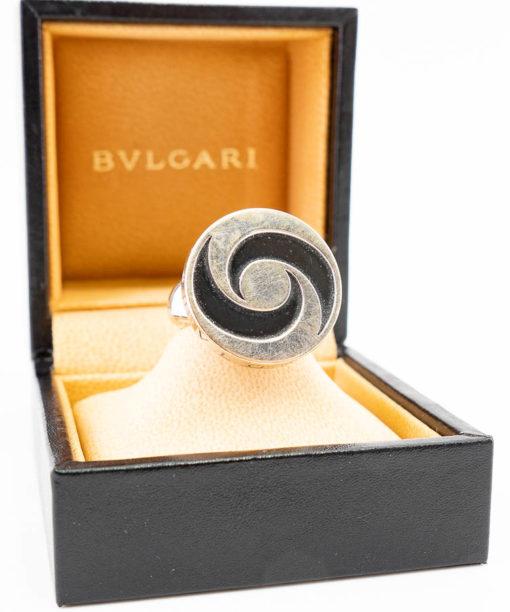 Bvlgari Yin Yang Bague en or blanc 18k, Onyx et Acier