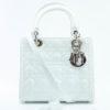 Dior Lady Dior Medium Cuir Vernis Blanc Sac à main